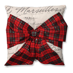 Pillow Perfect - Beige 6.5-Inch Holiday Plaid Bowknot Throw Pillow - - Bring the quaintness and culture of Paris to your home with this plush throw pillow. Featuring allover French wording, this accent pillow is superbly finished with a wide tartan plaid bow. This well-constructed pillow has a solid back and button detail. Display it all winter long for a cozy decor accessory  - Fill material: Plush fill, 100% Polyester Fiber  - Spot clean only  - Knife edge and Sewn seam closure Pillow Perfect - 552996