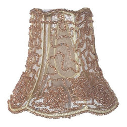 Jubilee Collection - Chandelier Shade - Flower Tulle - Taupe - Material: silk, metal. 2x 5 x 4 in.