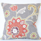 Designer Chartreuse and Faded Brick Red Flower Linen Pillow Cover - I love the flower on this pillow- it is bold design and has great pops of faded red and chartreuse.