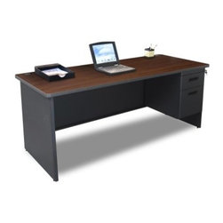 Marvel Pronto Single Pedestal Desk - 72W x 30D - Transform your office or study décor-style with the Marvel Pronto Single Pedestal Desk - 72W x 30D. Featuring a durable steel construction, it has a powder-coated finish and melamine laminated top, with grommets. This made-in-the-USA desk has a modesty panel with wire management channels. Its drawer, with ball-bearing gliders, provides ample room for keeping your belongings. Spacious and sturdy, this computer desk offers you comfortable leg room. You can select this GREENGUARD-certified table in different colors.