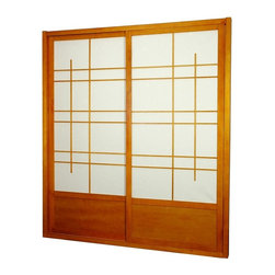 Oriental Unlimited - 7 ft. Tall Eudes Shoji Sliding Door Kit in Ho - Includes sliding doors, top and bottom tracks and right and left door jambs. Gives it an art deco feel with large geometric lattice work. Designed for constant use. Easy to install, like a pre-hung door kit from the lumberyard. Top quality at an unbeatable price. Tough shade. Hard fiber rice paper, difficult to puncture, allows diffused light. Provides complete privacy. Crafted from durable, lightweight and beautifully finished Spruce. Constructed using east Asian style mortise and tenon joinery. Assembly required. Rough opening (outside dimension): approximately 73.5 in. L x 3.5 in. W x 83 in. H. Tracks and jambs: approximately 3.5 in. W x 1.75 in. H. Each door: approximately 36 in. L x 1 in. W x 80 in. H. NOTE: If you prefer no bottom track, install sliding door hardware (top mounted) from your local hardware retailer.