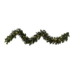 Vickerman 9 ft. Ashberry Pine Pre-Lit LED Garland - Warm White Lights - Get the look of nature pine branches without the mess with this Vickerman 9 ft. ashberry pine Pre-Lit LED Garland - Warm White Lights. A handsome way to deck the halls, this garland is nine feet long, which gives you plenty of length to drape or hang. It's made of durable PVC for lasting beauty and comes pre-lit with warm white LED bulbs for a warm glow that saves energy, too. About VickermanThis product is proudly made by Vickerman, a leader in high quality holiday decor. Founded in 1940, the Vickerman Company has established itself as an innovative company dedicated to exceeding the expectations of their customers. With a wide variety of remarkably realistic looking foliage, greenery and beautiful trees, Vickerman is a name you can trust for helping you create beloved holiday memories year after year.