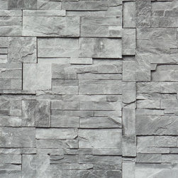 Walls Republic - Faux Stone Wallpaper, Grey, Sample - Faux Stone is the perfect narrative to stone tiling that would bring the modern look of the stone to your living room.