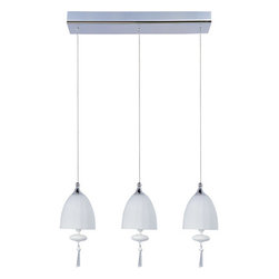 ET2 - ET2 E24353-11 3 Light Adjustable Height Pendant Chute Collection - Bulb - ET2 E24353-11 Chute 3 Light Adjustable Height PendantBrilliant is the word that comes to mine when viewing this 3 light pendant. What one notices first is the superb blown glass dome and matching glass ornaments. The beveled crystal finials are the final superfluous stroke on this beautiful piece while the adjustable height makes it a great fit for any room.Chute collection's blown glass domes, available in Matte White or Mirror Chrome, suspend in the air by adjustable cables. Highlighted by the light are matching glass ornaments and beveled crystal finials. Unique canopies and hardware of Polished Chrome add to the eclectic nature of this design.ET2 E24353-11 Features: