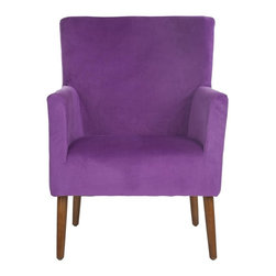 Safavieh - Everett Arm Chair - Purple - The Everett arm chair features simple, clean lines amped up by luxe purple cotton velvet fabric. A perfect mix of contemporary color and mid-century Danish design, Everett transcends the whims of fashion. Legs are crafted from birch wood in natural oak finish.