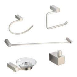 "Fresca - Fresca Ottimo 5-Piece Bathroom Accessory Set - Brushed Nickel - Fresca Ottimo 26"" Towel Bar (FAC0437BN) - Dimensions:  26""W x 3""D x 1""H. Fresca Ottimo Soap Dish (FAC0403BN) - Dimensions:  5.5""W x 5""D x 1.5""H. Fresca Ottimo Toilet Paper Holder (FAC0427BN) - Dimensions:  5""W x 2.5""D x 5.5""H. Fresca Ottimo Towel Ring (FAC0425BN) - Dimensions:  2.5""W x 5.5""D x 8.25""H. Fresca Ottimo Robe Hook (FAC0401BN) - Dimensions:  1""W x 1.5""D x 1.5""H. Heavy Duty Brass with Triple Brushed Nickel Finish. . . All of our Fresca bathroom accessories are made with brass with a triple brushed nickel finish and have been chosen to compliment our other line of products including our vanities, faucets, shower panels and toilets.  They are imported and selected for their modern, cutting edge designs."
