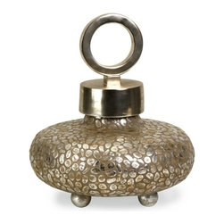 "IMAX - CKI Round Myriad Lidded Vase - Silvered pebbles and plated bands of trim with a ringed top elevate the simplest of things to dramatic contemporary statements on texture, and shape. Item Dimensions: (16""h x 13.75""d)"