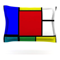 """Kess InHouse - Oriana Cordero """"Mondrian & Me"""" Multicolor Squares Pillow Sham (Woven, 30"""" x 20"""") - Pairing your already chic duvet cover with playful pillow shams is the perfect way to tie your bedroom together. There are endless possibilities to feed your artistic palette with these imaginative pillow shams. It will looks so elegant you won't want ruin the masterpiece you have created when you go to bed. Not only are these pillow shams nice to look at they are also made from a high quality cotton blend. They are so soft that they will elevate your sleep up to level that is beyond Cloud 9. We always print our goods with the highest quality printing process in order to maintain the integrity of the art that you are adeptly displaying. This means that you won't have to worry about your art fading or your sham loosing it's freshness."""
