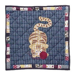 Patch Magic - Kitty Cats Toss Pillow - 16 in. W x 16 in. L. 100% Cotton. Machine washable.. Line or flat dry onlyDecorative applique Quilted Pillow.