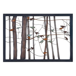 Benzara - Classic Metal Wall Decor with Intricate Bird and Tree Motifs - Exemplifying finesse and elegance, this elaborately designed Metal Wall Decor will decorate your simple room settings. Adorned with an assortment of colors, the attractive, nature inspired design of this wall decor seamlessly complements different home settings. The simple wall design of this decor piece is accentuated with intricate bird and tree motifs. Brightly colored birds of this wall decor piece are perched on slender tree branches and lend a charming, picturesque appeal to interiors. The distressed accents on the metal benches and the wood grain finish on the metal tree trunks lend a life-like charm to design aesthetics. It is also a nice birthday gift for your beloved. The robust metal construction of this wall decor is due to the solid metal construction, which ensures hassle-free, long-lasting performance.