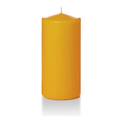 """Neo-Image Candlelight Ltd - Set of 6 - Yummi 3"""" x 6"""" Harvest Gold Round Pillar Candles - Our unscented 3""""x6"""" Round Pillar Candles are ideal when creating a beautiful candlelight arrangement for the home or wedding decor.  Available in 44 trendy candle colors hand over dipped with white core to match and compliment your home decor or wedding centerpiece decoration."""