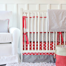 Caden Lane - Coral and Gray Crib Bedding, 2pc Set - Caden Lane's brand new coral and gray baby bedding is the hottest color combination in gender neutral nurseries! The gray dot sheet, and mod coral crib skirt perfectly coordinate with any gender neutral nursery.