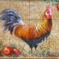 The Tile Mural Store (USA) - Tile Mural - Rooster With Apples 1 - Kitchen Backsplash Ideas - This beautiful artwork by Rita Broughton has been digitally reproduced for tiles and depicts a boldly colored Rooster and Red Apples.  This tile mural with images of farm animals on tiles would be perfect as a part of your kitchen backsplash tile project. Farm animal tiles with pigs on tiles and images of cows on tile make an impressive kitchen backsplash idea. Rooster tile murals and pictures of roosters on tiles is timeless and will never go out of style.