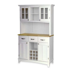 Home Styles - Home Styles Natural Wood Top Large Buffet/Server with Hutch - Put everything in its place with this Home Styles buffet with hutch. The base features two roomy cabinets with adjustable shelving and three utility drawers.