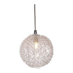 Zuo Modern - Cassius Coiled Aluminum Ceiling Lamp - Cassius Coiled Aluminum Ceiling Lamp     Like a force field of aluminum, the Cassius ceiling lamp's aluminum exterior and chrome base is the perfect mix of metals and glass. The lamp comes with one 40W bulb and is UL approved.