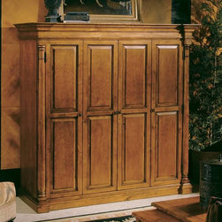 Hekman Furniture - Mountain Retreat Plasma Cabinet - Includes 7 ft. pass though coaxial cable. Bi-fold doors wrap around to sides of cabinet. Fixed television shelf located 21.75 in. from floor. Fixed and adjustable shelves below television for storage of electronics. Accommodates most 50 in. flat panel televisions. Adjustable levelers provide stability on uneven and carpeted floors. Built in power strip provides three grounded outlets and carries a 12 AMP rating. Flip works all-media storage system accommodates audio, video, gaming and computer media formats. Strategically located cut outs provide neat and orderly routing of cords and connections. Warranty: One year. Made from select solids and rogue cherry veneers. Hand-rubbed, hand planed and heavily distressed Indian summer finish. Removable shelf: 17.75 in. W x 19.5 in. D. Flip work tray: 6.5 in. W x 16 in. D. Interior: 60.25 in. W x 20.75 in. D x 38.63 in. H. Center compartment: 20.13 in. W x 19.5 in. D x 4.31 in. H. Side compartment: 19.25 in. W x 19.5 in. D x 4.31 in. H. Bottom center compartment: 18 in. W x 19.5 in. D x 11.25 in. H. Bottom side compartment: 10.88 in. W x 19.5 in. D x 11.25 in. H. Right side shelf clearance minimum height: 5.25 in.. Overall: 67 in. W x 26 in. D x 67 in. H
