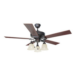 DHI-Corp - Ironwood 52-inch 3-Light 5-Blade Ceiling Fan, Redwood or Light Maple Blades - The Design House 154112 Ironwood 52-Inch 3-Light 5-Blade Ceiling Fan features a brushed bronze finish and snow glass shades for a striking center piece in any room Use the pull chain to control your 3-speed motor and toggle between three different speed settings. The (5) fan blades have a redwood finish on one side and a light maple finish on the other. Choose between close-up, 4-inch downrod or vaulted mount for angled ceilings. Run the motor in reverse to help conserve energy costs during all seasons. Blades can be run on the normal setting during the summer to create cooling air flow and on reverse in the winter to re-circulate warm air from the ceiling. This fan is UL listed, rated for 120-volts and features (3) 60-watt candelabra base incandescent lamps. Measuring 52-inches, this fixture adds a dramatic accent to any home or condominium. Coordinate your home with the rest of the Ironwood collection, which features a beautiful matching pendant, chandelier, vanity and ceiling mount. The Design House 154112 Ironwood 52-Inch 3-Light 5-Blade Ceiling Fan comes with a 10-year limited warranty that protects against defects in materials and workmanship. Design House offers products in multiple home decor Categories including lighting, ceiling fans, hardware and plumbing products. With years of hands-on experience, Design House understands every aspect of the home decor industry, and devotes itself to providing quality products across the home decor spectrum. Providing value to their customers, Design House uses industry leading merchandising solutions and innovative programs. Design House is committed to providing high quality products for your home improvement projects.
