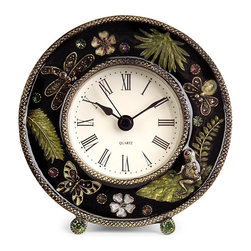 iMax - iMax Jeweled Desk Clock X-4952 - Chic jeweled desk clock with botanical and butterfly images