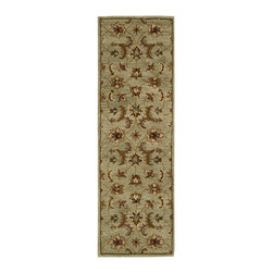 """Nourison - Nourison India House IH83 2'3"""" x 7'6"""" Light Green Area Rug 10289 - A narrow, linear border gives a new, modern feeling to Persian heritage in this lovely pale green rug. Golden floral motifs and airy ferns grow to the very edge, filling the room with a garden of pleasure. A unique design element for the contemporary home."""
