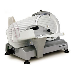 Chef's Choice - Chef's Choice Professional Electric Food Slicer Model 667 - Chef's Choice-International, Professional Electric Food Slicer #667:This rugged commercial quality slicer meets the needs of busy home cooks, sportsmen, caterers and chefs. It operates at peak power of over 1/4 horsepower and features die-cast metal construction and precision thickness control to slice from deli-thin to 1/2 inch. The powerful, high quality, quiet induction motor and tilted design is perfect for your toughest slicing tasks. The large, commercial quality 10 inch (approx. 25 cm.) diameter fully hardened, fine edge stainless steel blade slices meats, cheeses, vegetables, breads and fruits quickly and effortlessly. It features an extra large capacity food carriage that rides smoothly on industrial bearings. Rubber feet secure the slicer to the work surface and a double control on-off switch is built in for added safety. A built-in sharpener gives you the convenience of demand blade sharpening and maintenance. A tool for easy blade removal and a serving tray are included. This product is direct shipped from the manufacturer's warehouse. Gift wrapping is not available and is not refundable.