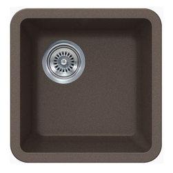 "TCS Home Supplies - Sinful Mocha Quartz Composite Undermount Kitchen Sink - 14-7/8 x 14-7/8 x 7 Inch - Undermount Kitchen Sink. Sinful Mocha Quartz Composite. Dimensions 14-7/8"" x 14-7/8"" x 7"" D"