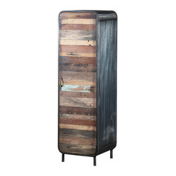 Artemano - Tall Cabinet Made of Recycled Boat Wood - This compact cabinet is built with great attention to detail and the highest quality of craftsmanship.  The front door as well as the interior shelving is made of vibrant reclaimed boat wood, while the legs and framing of the cabinet is a dark, brushed iron. As part of our boat wood collection, the wood comes from dismantled boat wrecks, giving life to the materials that have survived years of erosion by the sea and its elements.