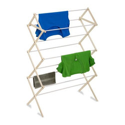 "Honey Can Do - Wood Knockdown Drying Rack- 24 Linear Feet - 24 feet of drying space. Sturdy wood construction. Coated drying bars. Prevents clothes from slipping. No tool assembly. 15 in. L x 30.25 in. W x 47.1 in. H (2.1 lbs.)Honey-Can-Do DRY-01168 Natural Wooden Clothes Drying Rack, White/Natural. The accordion-style body has coated rods to prevent snagging and slipping with a top shelf that's great for air-drying sweaters. With 16 feet of linear drying space, this no-frills drying rack offers a tremendous value in natural clothes drying. Unlike a wall-mounted unit, this portable rack can be used anywhere including the laundry room, balcony, porch, bathroom, or kitchen and folds down to 2"" flat for easy storing. Save on energy costs while protecting the environment and increasing the life of your garments."
