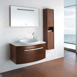 "Provence Modern 39.25"" Bathroom Vanity - NATURAL Iron Wood VM-V18029-IRW - The wall-mounted bathroom vanity is the perfect combination of practicality and design, understated in it's elegance, but definitely a modern piece."