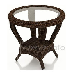"Wicker Forever Patio Leona 25"" Round End Table with Glass - Above Table Includes:  (1) 25"" Round Leona Wicker End Table & (1) Glass Top."
