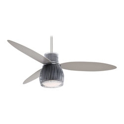 "Minka Aire - Minka Aire F824-BK/CH Uchiwa Brushed Nickel 56"" Asian Ceiling Fan + Wall Control - Features:"