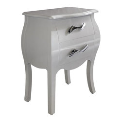 Dupen Furniture - Dupen Nelly Nightstand in White - Dupen Furniture - Nightstands - M95N/SWHITE - The Nelly collection will create a visual fantasy in your bedroom using traditional shapes in the modern interpretation.