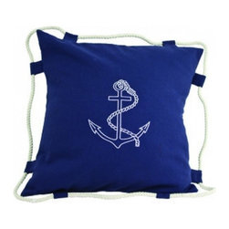 """Handcrafted Model Ships - Navy Blue Anchor Pillow 15"""" - Beach Bedroom Decor - This wonderful Navy Blue Anchor Pillow 15"""" combines the atmosphere of the sea along with the decorative anchor stitched into the front of our pillow. To round out the nautical aesthetic of this pillow, we have wrapped a white rope around the edge of the pillow to further accent this this decorative throw pillow. Place this nautical theme pillow in your home to show guests your affinity for nautical decoration."""