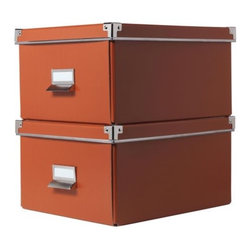 Jon Karlsson - KASSETT Box with lid for paper - Box with lid for paper, orange