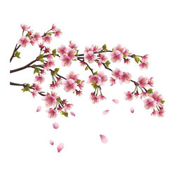 The Wall Decal Shop - Cherry Blossom Branch Wall Decal - Give your wall the glorious feel of Spring in bloom, any day of the year, with this gorgeous cherry tree wall decal. This premium vinyl film decal is self adhesive, and will look incredible on many surfaces in your home, including plaster, glass, tile, wood and plastic. Picture this lovely blossoming branch in your bedroom, over the credenza in the dining room, or on the bathroom wall.