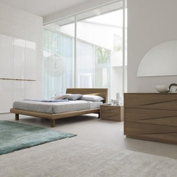 Made in Italy Wood Designer Bedroom Furniture Sets with Extra Storage - Walnut wooden Italian bedroom set with lights in the headboard. Made in Italy, the Genesis collection of beds and storage puts together the luxuriousness and stylishness in your bedroom.