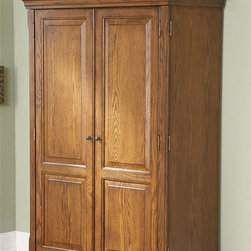 Riverside Furniture - Seville Square Computer Armoire in Warm Oak F - Two full-length doors are double-hinged to open flush with sides of cabinet for convenient access to all interior. Top section has three fixed shelves. Task light mounted underneath on pull-out shelf. Fixed shelf with wiring access hole in center monitor area. Small storage area with fixed shelf and power control bar. One pullout work surface shelf and separate keyboard pullout shelf mounted beneath. Lower left hand side contains one adjustable and one fixed shelf. Lower center section has two pullout shelves. Lower right hand side contains two small storage drawers and one small file drawer. Drawers are constructed with dovetail joinery. Center and bottom file drawers are mounted on ball-bearing extension guides . Wiring access holes located in back panel. Base levelers. CPSC HR-4040 certified. Made from ash hardwood solid and oak veneer. 43 in. W x 23 in. D x 67 in. H (340 lbs.). Assembly instructionsA celebration of the classic office style loaded with function for today's home office. Use each piece alone or as a part of a coordinated home office collection.
