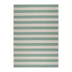 "Frontgate - Resort Stripe Outdoor Area Rug - Exclusive design for Frontgate. .38"" thick. Structured flat-weave construction. Resistant to mold, mildew, and heavy foot traffic. Ideal for decorating outdoor living areas but also perfect for all the busy rooms inside a home. Use our Resort Stripes Outdoor Rug to enliven an outdoor space with bold, balanced colors and design that beautifully accents any furniture collection. The easy-care, flat-weave rug is loomed of 100% fine-spun polypropylene a fiber legendary for its endurance. Adds warmth underfoot in cooler temperatures and relief from hot surfaces in summer.  .  .  .  .  . UV stabilized to minimize fading . Non-slip outdoor rug pad (sold separately) can provide additional cushioning and increased water drainage and help hold rug in place . Hose clean and allow to dry in the sun . Imported."