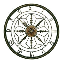 Welcome Home Accents - Circular Wall Clock - Aged bronze metal finish circular wall clock feature roman numeral numbers. Uses (1) AA battery. Battery not included.
