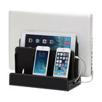 Great Useful Stuff - Faux Leather Multi-Charging Station, Black, Without Usb Power Strip - Techies, don't not worry about all the electronics cluttering up your space. Banish the unsightly cords and stylishly organize your gadgets with this multicharging station. The smart, faux-leather stand holds a laptop, tablet and three other devices that you simply can't live without.