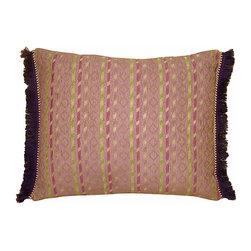Pillow Sham w/ Purple Fringe - Moroccan pillow sham with stripes & diamond pattern, brush fringe in purple. Zipper closure. Sham only, insert not included.