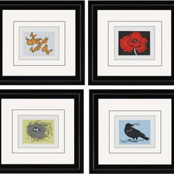 Paragon Decor - Treasures Set of 4 Artwork - Garden treasures feature glass matting directly around the image with a white surround.