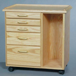 Alvin and Company - Five-Drawer Castered Taboret with Storage Cub - Get headed in the right direction with this wheeled 5-drawer taboret. A great addition to your busy office or classroom, it has plentiful storage for supplies on the go. Plus, it has a spacious open cabinet for larger items, too. Crafted with solid oak, the taboret is completed with lacquer finish. Includes heavy-duty dual-wheel casters and manageable size. Drawers slide smoothly on wood drawer guides and are fitted with solid brass pulls. Taborets are finished with multiple coats of furniture-grade lacquer. Solid Oak raised edges on the top are 0.5 in. high to help control equipment and supplies. Constructed with the highest quality Oak and Oak veneers. All drawers are made with superior drawer material and smooth, 2-sided tempered hardboard bottoms. 5 Drawer: 3 shallow drawers (1.75 in.), 1 deeper (4.5 in.), and one extra deep (7.5 in.). 5 Drawer: also available with vertical side storage area. 27.5 in. H x 26.63 in. W x 17.38 in. D (83 lbs.)