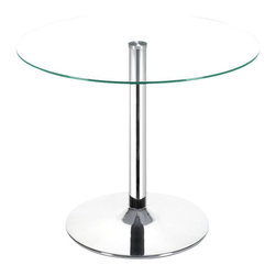 ZUO - Zuo Galaxy Casual Glass Top Dining Table with Chrome Base - Love dining in the round? Do it in an ultramodern way with this minimalist table. With its sleek clear tempered glass top and chromed steel tube center and base, this table is a sophisticated addition to your contemporary decor.