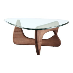 Modern walnut wood and triangle glass Noguchi inspired coffee table - Modern walnut wood and triangle glass Noguchi inspired coffee table  is sturdy and durable. This coffee table is a balance of sculptural form and everyday function. It ill be an understated and beautiful element in your modern home or office.