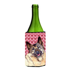 Caroline's Treasures - Norwegian Elkhound Hearts Valentine's Day Portrait Wine Bottle Koozie Hugger - Norwegian Elkhound Hearts Love and Valentine's Day Portrait Wine Bottle Koozie Hugger Fits 750 ml. wine or other beverage bottles. Fits 24 oz. cans or pint bottles. Great collapsible koozie for large cans of beer, Energy Drinks or large Iced Tea beverages. Great to keep track of your beverage and add a bit of flair to a gathering. Wash the hugger in your washing machine. Design will not come off.