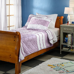 None - Purple Chenille Stripe 3-piece Quilt Set - Bring cozy comfort to your bed in pretty purple with this three-piece quilt set. The white chenille stripes and corded edges add lovely textural variety to the quilted pattern, and this 100 percent cotton bedding is machine washable.