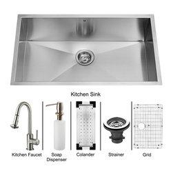 Vigo - Vigo Undermount Stainless Steel Kitchen Sink, Faucet, Colander, Grid, Strainer - Enhance your kitchen workspace with a Vigo Undermount Stainless Steel Kitchen Sink Set.