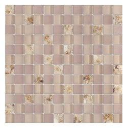Serene Desert Sand Shell Glossy & Matt Square Pattern Glass Mosaic Tiles, Sheet - 1 in. x 1 in. Serene Desert Sand Shell Mesh-Mounted Square Pattern Glass Mosaic Tile is a great way to enhance your decor with a traditional aesthetic touch. This Glossy & Matt Mosaic Tile is constructed from durable, impervious Glass material, comes in a smooth, unglazed finish and is suitable for installation on floors, walls and countertops in commercial and residential spaces such as bathrooms and kitchens.