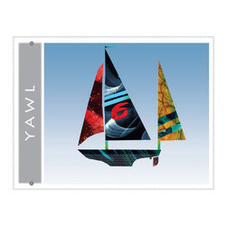 Yawl sailboat giclee art print for home, office, childrens or nursery decor - Yawl Sailboat giclee art print. Nautical colorful sail boat art decor for beach home, blue wall art print from colorful painted paper collage artwork gradient blue sky background for home, office, bueiness childrens room or nursery decor. Great gift for sailors!