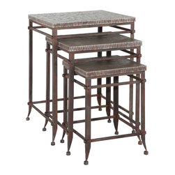 """Powell - Powell Foundry Antique Pewter 3-Piece Square Nested Tables - Antique pewter 3 piece square nested tables belongs to foundry collection by Powell. The foundry nesting tables are crafted from sturdy metal and MDF and finished in an antique pewter. Consisting of three tables, ranging in height from 18. 5"""" to 25. 4"""", this set if the perfect accent for any chair or sofa side. Small rounded feet add an extra element of interest to the somewhat simple design. Some assembly required."""